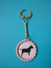 Handmade Bull Terrier Dog Keyring Bottle Cap Bag Charm Pink English Silhouette