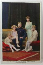 POSTCARD Majesties King & Queen of Belgians & their children; Belgium; Oilette