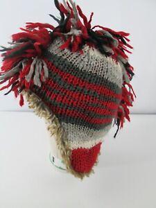 Gap Kids Striped Knit Mohawk Hat Winter Snow Boys L/XL  Red Gray Faux Fur