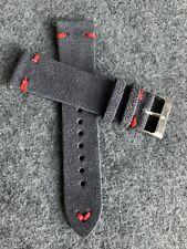20mm Dark GRAY Vintage Handmade Suede Leather watch band strap RED Stitching