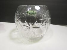 Shannon Cut Crystal Rose Bowl Palm Tree South Beach Large with Label Godinger