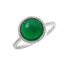 14K WHITE GOLD PAVE DIAMOND GREEN AGATE ROUND COCKTAIL HALO RING