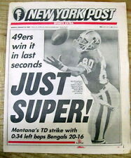 <1989 newspaper SAN FRANCISCO 49ERS WIN SUPER BOWL vs Bengals FOOTBALL Montana