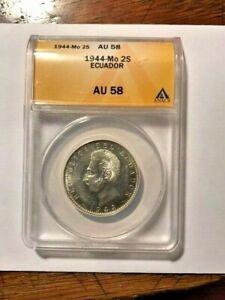 1944-Mo 2S Ecuador 2 Sucre Silver #73
