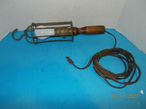 Vtg. Industrial / Mechanics  Drop Light Metal Cage Wood Handle - STEAMPUNK