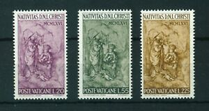 Vatican 1966 Christmas full set of stamps. MNH. Sg 489-491