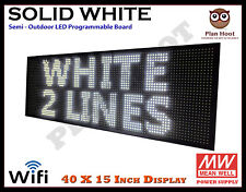40x15 Inch Led White Color Digital Wifi Usb Indoor Semi Outdoor Scrolling Sign