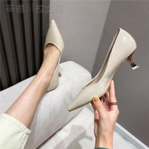 Women Pointed Toe Pumps Patent Leather Dress Shoes High Heels Wedding Shoes