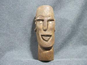 Vintage signed Lee 86 folk art man face wooden carving figure