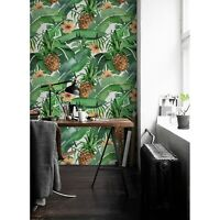 Tropical Leaves & Pineapple Non-Woven wallpaper Traditional home wall mural