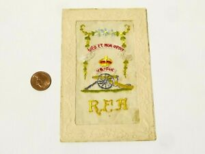 WW1 RFA Royal Field Artillery French Embroidered Silk Postcard #SP8