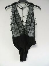 Missguided Black Plunge Scallop Lace Teddy Size UK 8 DH001 AA 14