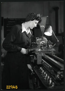 Larger size Vintage Photograph, worker woman in factory, communist period, 1950'