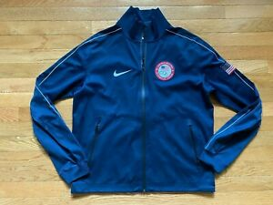 Nike 2012 USA Olympic 3M Reflective Windrunner Jacket Sz M Mens Spellout Navy