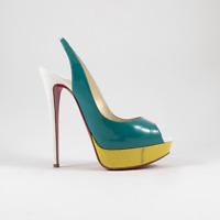 Christian Louboutin Lady Peep Toe Multicolor Platform Slingback Sandals 9.5 US