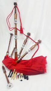 Great Scottish Bagpipe Natural Rosewood Silver Plain Mounts Red Velvet Tartan