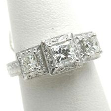 Platinum Princess cut 3 stone ring Diamond 1.38 carat vintage engraved NEW