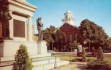 Indiana postcard Angola, Civil War Monument & Court House
