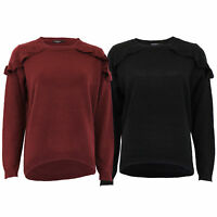 Ladies Frill Jumper Brave Soul Womens Knitted Dip Hem Sweater Pullover Winter