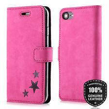 Surazo® Premium Echtes Ledertasche Schutzhülle Wallet Case - STERN motiv Pink
