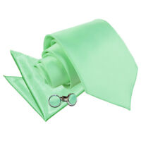DQT Satin Plain Solid Mint Green Classic Slim Skinny Tie Hanky Cufflinks