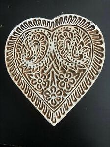 Heart Shape Design Printing Block Wooden Stamp New