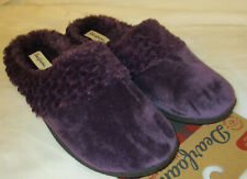 Dearfoams Clog Slipper Womens Velour Pile Memory Foam Purple Blue S-XL