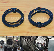 "2X Black 7"" LED Headlight Mount Ring Bracket For Harley Touring Softail Jeep FLD"