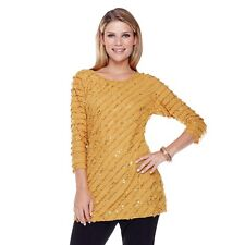 "Antthony ""Celine"" Sparkle Ruffle Knit Top 289339 *LAST ONE* (M,Gold) $19.90"