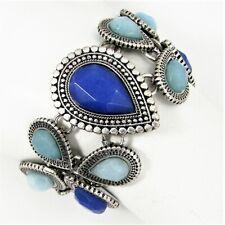 Lucky Brand Lotus Drama Flex Bracelet Blue Faceted Teardrop Stones Siver Tone