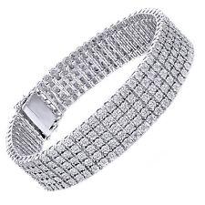5 Row Diamond Bracelet 925 Sterling Silver Mens White Gold Finish Round Cut