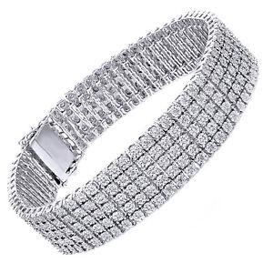 5 Row Diamond Bracelet 925 Silver Mens White Gold Finish Round Cut