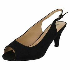 Anne Michelle F1R0593 Ladies Black Slingback Shoes Wide fit (R29A)