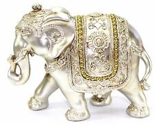 "Feng Shui Light Gold 7"" Large Elegant Elephant Trunk Statue Gift Home Decor"