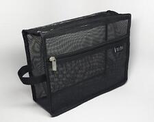 DELUVA BM004 Black Mesh Vinyl Cosmetic Bag 11x8x4, school, travel, makeup