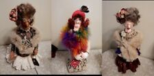 """Lot of 3 Soft Sculpture Whimsical """"Fashionable Old Ladies"""" - Ooak - Jeweled"""