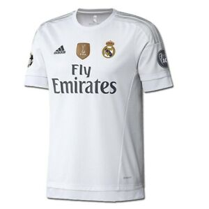 adidas Real Madrid UCL Home Youth '15-'16 Soccer Jersey (White/Clear Grey) #Boys