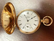 Elgin 14K Solid Yellow Gold, Mechanical Pocket Watch, Hunter Case, Running, 1897