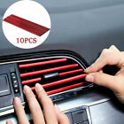 10x Car Auto Accessories Air Conditioner Air Outlet Decoration Strip Cover Red