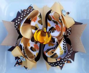 """Fall Autumn Acorn Pumpkin Hair Bow 5"""" Brown White Tan Orange 1"""" French Barrette"""