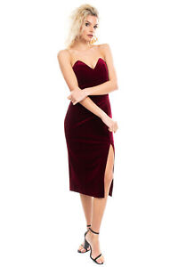 MARCIANO GUESS Velour Sheath Dress Size 42 M Pleated High Slit Zip Side Bandeau