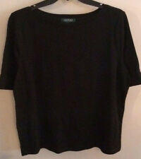NWT~RALPH LAUREN PLUS~BLACK BOATNECK ELBOW SLEEVE SHIRT/TOP~SIZE 2X~NEW