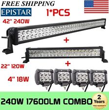 "42Inch LED Light Bar Combo + 22in +4"" CREE PODS OFFROAD SUV 4WD ATV FORD JEEP 40"