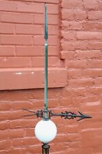 Antique Lightning Rod Stand with Copper Lightning Rod Weathervane Glass Ball