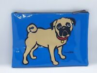 Marc Tetro Blue Patent Pug Cosmetic Bag Pencil Case Dog Lovers Gift Lined Zip