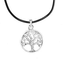 Tree of Life Pendant Charm Black Rubber Necklace