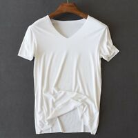 Hot Mens Summer Bamboo Fiber Thin V-Neck Seamless Basic T-Shirts Top Undershirts