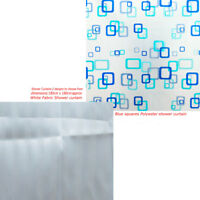 NEW BATHROOM SHOWER CURTAIN WITH RING HOOKS VARIOUS COLOURS AND DESIGNS MODERN