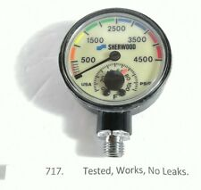 Sherwood 4500 PSI SPG Submersible Scuba Pressure Gauge w Thermometer NICE! 717
