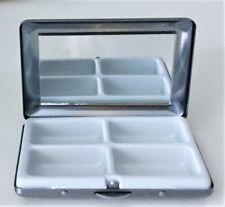 Metall Pillendose Premium, mit Spiegel, 4 Fächer, 8,3x5,5x1,5 cm, aa210